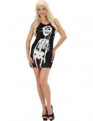Kostume kjole med skelet i glimmer til kvinder Halloween