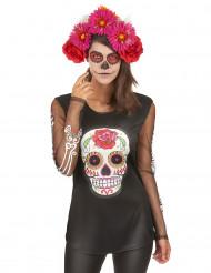 Farverig t-shirt De Dødes Dag, damestørrelse
