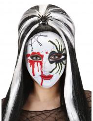 Blodig maske med edderkop Halloween voksen