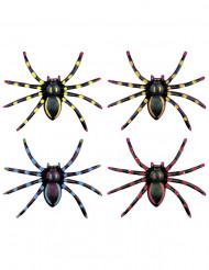 4 neonfarvede edderkopper Halloween 7,5 cm