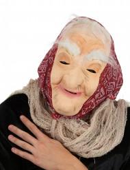 Maske gammel heks med hår og sjal voksen Halloween