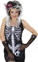 Spindelvævs-handsker med dødningehoved med rhinsten voksen Halloween