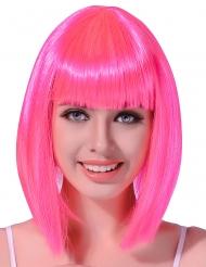 Paryk Halvlangt hår neon lyserødt