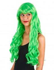 Neon grøn paryk med pandehår dame