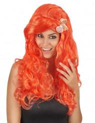 Paryk Langt orangefarvet hår