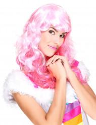 Paryk glamour lyserød med pandehår til kvinder