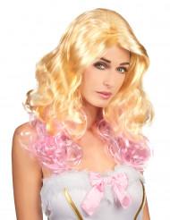Paryk Blond med Lyserøde spidser