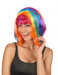 Paryk firkantet flerfarvet med pandehår til kvinder