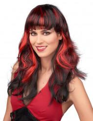Paryk Sort hår med røde striber