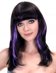 Paryk sort med pandehår og violette striber til kvinder