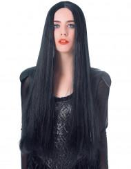 Sort meget lang paryk - 75 cm dame