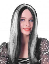 Mellemlang bælget sort og rød paryk til kvinder