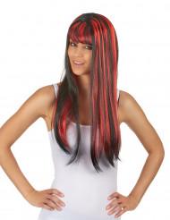Langt glat rødt og sort paryk til kvinder
