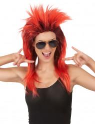 Rød og sort rockstjerne-paryk dame