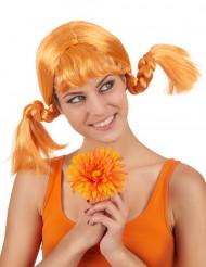 Rød/orangefarvet paryk med to fletninger dame