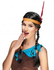 Indianerparyk med fletninger og fjer