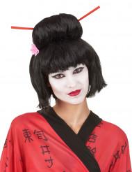 Mørkebrun geisha paryk til kvinder