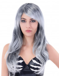 Lang og bølget grå paryk Kvinde
