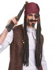 Lang Sort Piratparyk med Bandana Voksen