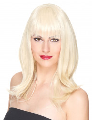 Luksuriøs Halvlang Blond Paryk Kvinde - 170 g