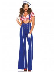 Marine kostume med bukser til kvinder
