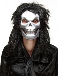 Langhåret dødninghoved maske Halloween Voksen