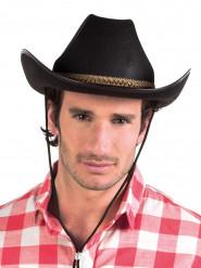 Sort cowboyhat med fletbånd til voksne