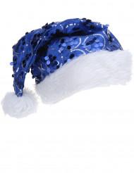 Julehue med Blå Pailletter Voksen
