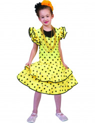 Kostume flamenco gul med prikker til piger