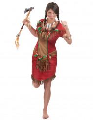 Rødt indianerkostume kvinde