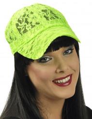 Blonde kasket i neon grøn til voksne