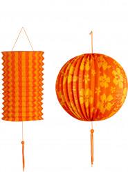 2 orange og gulde lanterner