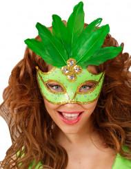 Grøn maske med fjer voksen
