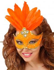 Orange maske med fjer voksen