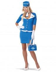 Blå flyværtinde kostume voksen