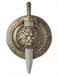 Gladiatorskjold og sværd i guldfarvet plast