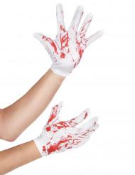 Hvide blodplettede handsker voksen halloween
