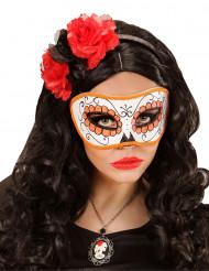 Orange og glitrende Día de los muertos-maske voksen