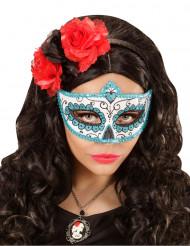 Blå og glitrende Día de los muertos-maske voksen