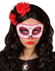 Pink og glitrende Día de los muertos-maske voksen