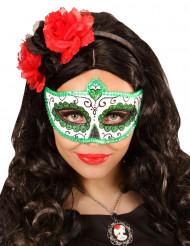 Grøn og glitrende Día de los muertos-maske voksen