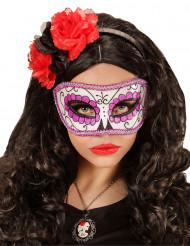 Lilla og glitrende Día de los muertos-maske voksen