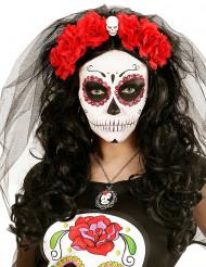 Rød blomsterkrone med dødningehoved Día de los muertos
