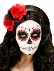 Hårbøjle med røde og sorte blomster voksen Día de los muertos