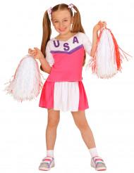 Lyserødt og hvidt cheerleader-kostume