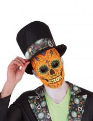 Orange día de los muertos-maske voksen halloween