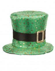 Grøn Saint Patricks-hat med guldkløvere voksen