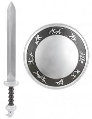 Gladiatorskjold og sværd i plast barn
