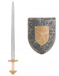 Ridderkit med skjold og sværd i sølv og guld til børn