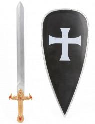 Sort korsridder-sæt med skjold og sværd barn
